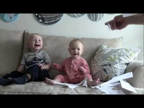 Baby Laughing Hysterically at Ripping Paper with Little Sister