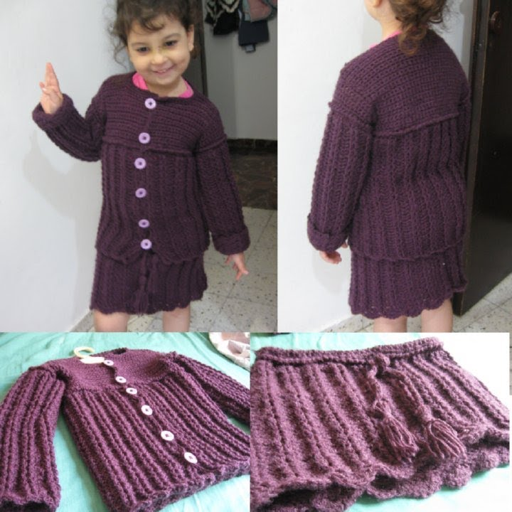 Free Crochet Pattern Little Girl Sweater : Crochet Childs Sweater and Skirt Set for my Daughter - YouTube