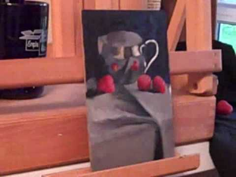 Silver Creamer with Raspberries Still Life Oil Sketch Demo