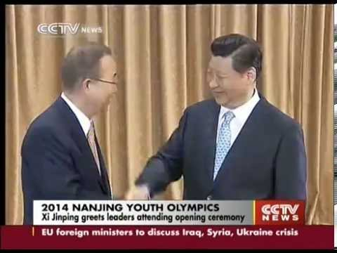 Xi Jinping greets leaders as Nanjing Youth Olympics opens