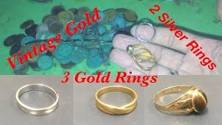 Found- Vintage Gold, 3 Gold Rings, 2 Silver Rings, Hundred of coins in One Night Hunt