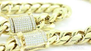 Men's 14k & 18k Gold Cuban Link Chain & Bracelet Set 1ct Lab Diamonds