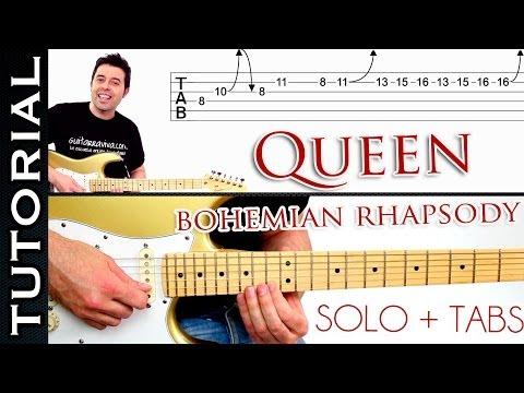 Como tocar Bohemian Rhapsody de QUEEN en guitarra SOLO tutorial