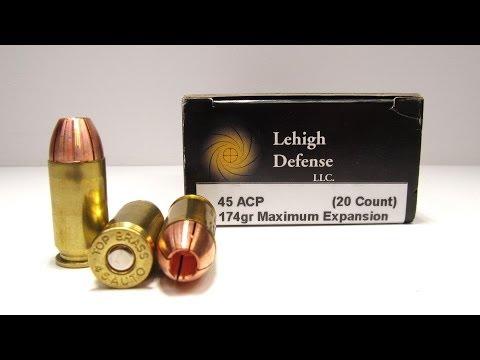 45 Auto Lehigh Defense Maximum Expansion 1911 Pistol Denim and Gel Test