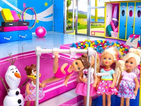 Disney Princess Frozen Elsa vs Barbie girl doll gymnastics challenge
