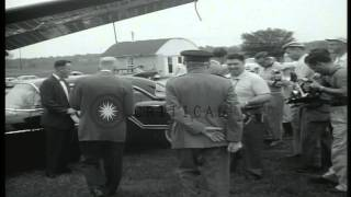 President Dwight D Eisenhower and Field Marshall Bernard Montgomery tour  the Get...HD Stock Footage