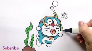Đồ Chơi Tô Màu, Tô Màu Doremon, Vẽ Tranh và Tô Mùa Doraemon Đi Biển Bắt Cá, Bé Tập Tô Màu