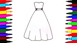 How To Draw 3 Beautiful Girls Dresses Drawing To Color For Kids l Painting Pages l Rainbow Colors