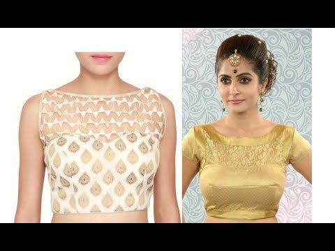 Boat Neck Blouse designs - Latest stylish designer boat neck blouse designs