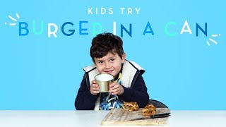 Kids Try a Burger in a Can! | Kids Try | HiHo Kids