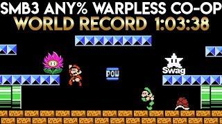 Super Mario Bros. 3 Co-op Any% Warpless World Record Speedrun 1:03:38