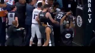 Sixers vs Nets fight (jared dudley fights embiid and ben simmons)