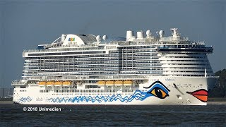 AIDAnova | the amazing spectacular ship horn during the Ems conveyance | 4K-Quality-Video