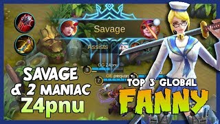 "Savage with 2 Maniac! Fanny by Z4pnu Ranked 3 Global Fanny ""No One Can Kill Me!"" ~ Mobile Legends"