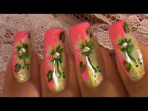 nail art tutorial pink nails dripping in diamonds diy design tutorial