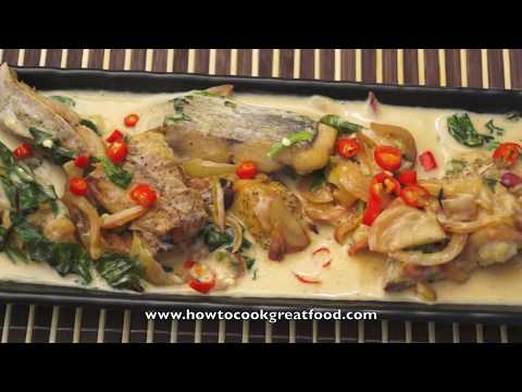 Asian Food   Fried Fish Coconut Milk &amp  Thai Basil Recipe Tilapia Sea Bream Whole Fish