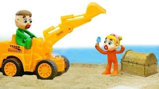 SUPERHERO BABY EXCAVATOR CONSTRUCTION 💖 Play Doh Stop Motion Cartoons