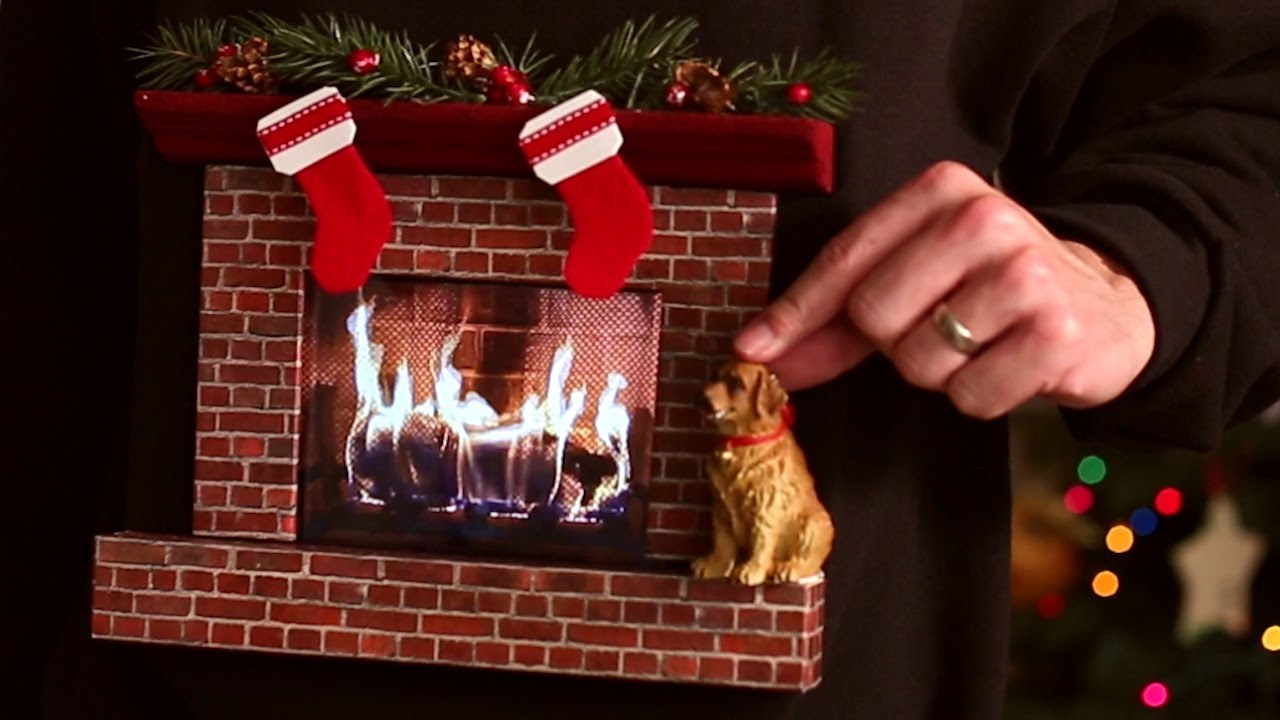 Burning Fireplace Ugly Christmas Sweater W An Ipad
