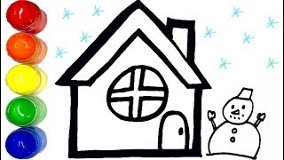 ♥winter house drawing and coloring for kids, toddler, baby/ 겨울 집 색칠하기 색칠공부/ LILY TOY WORLD