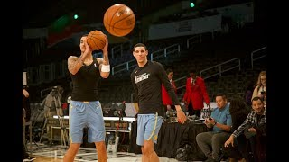Lonzo Ball, Kyle Kuzma Shoot Warm Up 3-pointers LEFT Handed Before NBA Rising Stars Game
