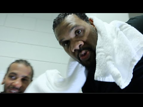 HEAVYWEIGHT NICK WEBB POST FIGHT INTERVIEW HI-JACKED BY FAT MAN SCOOP AFTER HARI MILES WIN.