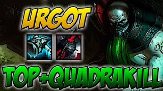 QUASE FIZ PENTA - URGOT TOP GAMEPLAY + QUADRAKILL - LEAGUE OF LEGENDS - ETERNO LOL