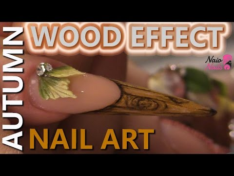 Wood Look Stiletto Nail with Acrylic Handmade Leaves