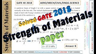 strength of Material 2018 || Solved MCQ || Aero/Mech/Civil/Engg Science