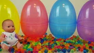 Baby Doll Surprise eggs Orbeez Frozen toys and Kinder Joy