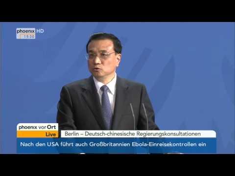 Regierungskonsultation: Angela Merkel & Li Keqiang zu Wirtschaftsbeziehungen am 10.10.2014
