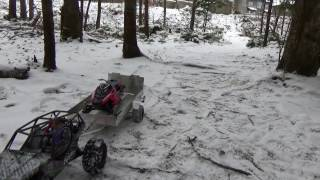 Rc snowmobile polaris rush on trailer and ride (first snow).