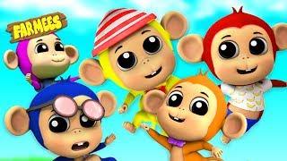 Five Little Monkeys | Nursery Rhymes & Children Songs | Cartoons by Farmees