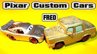 Pixar Cars Custom Primer Lightning McQueen and Primer Fred Painted GOLD from Mattel and Disney