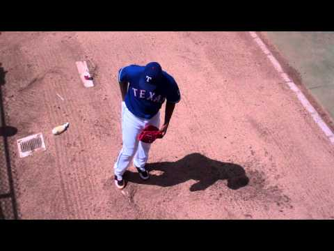 Rangers Neftali Feliz Warming Up in the Bullpen