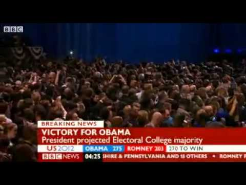 US election Moment BBC called Obama victory. Barack Obama is the president.