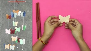 How to make Butterfly Paper Wind Chimes Craft | DIY Paper Crafts