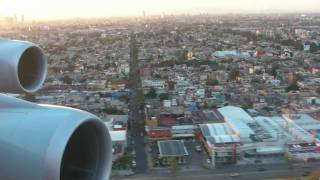 Lufthansa Boeing 747-400 - approach and landing on Runway 5R in Mexico City during sunset