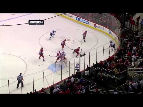 Carolina Hurricanes' Goalie Cam Ward Scores a Goal!