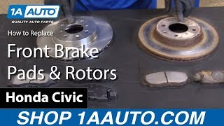 How to Install Replace Front Brake Pads and Rotors 2001-05 Honda Civic