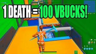 1 DEATH = 100 VBUCKS CHALLENGE! 100 Level Default Deathrun (Fortnite Creative)