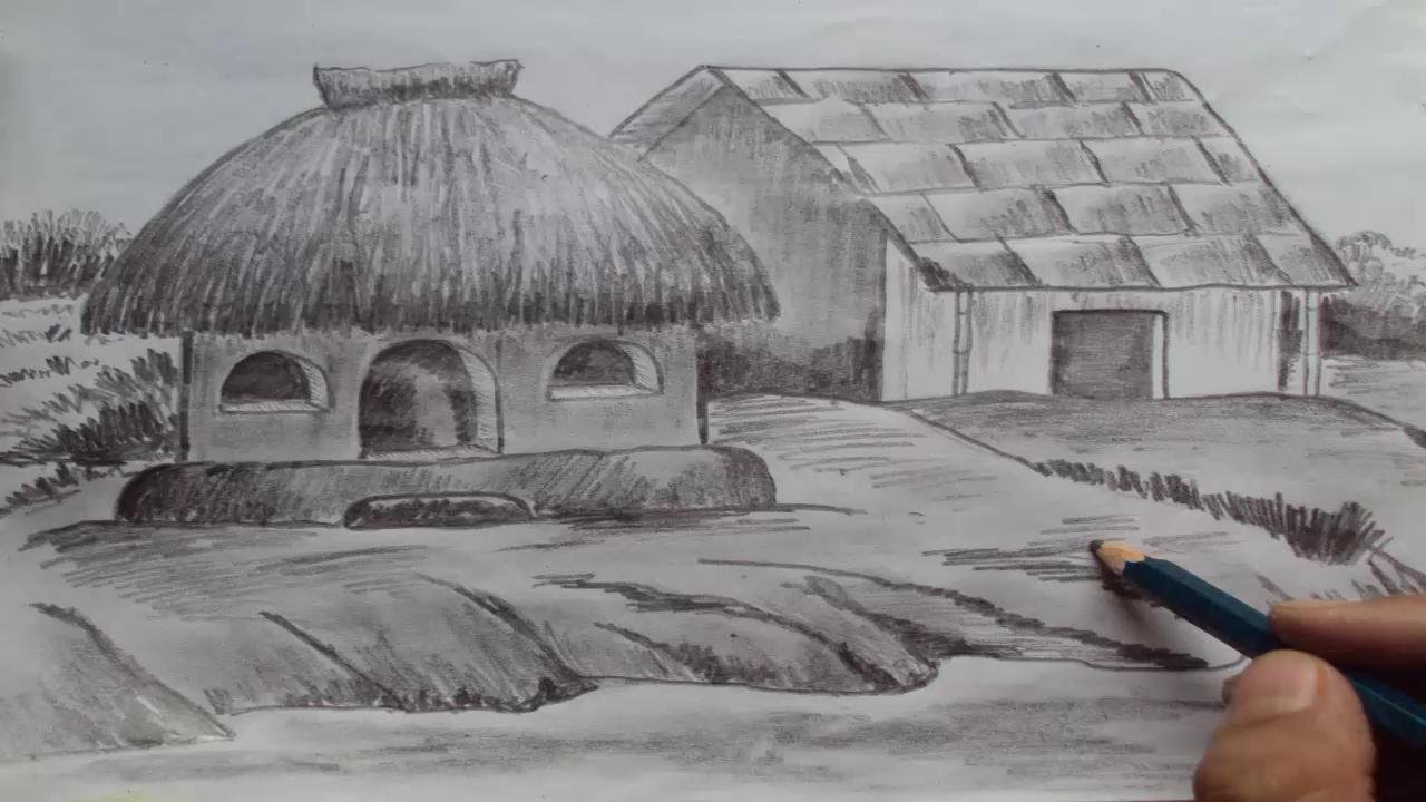 Old Village House Drawing How to Draw a House