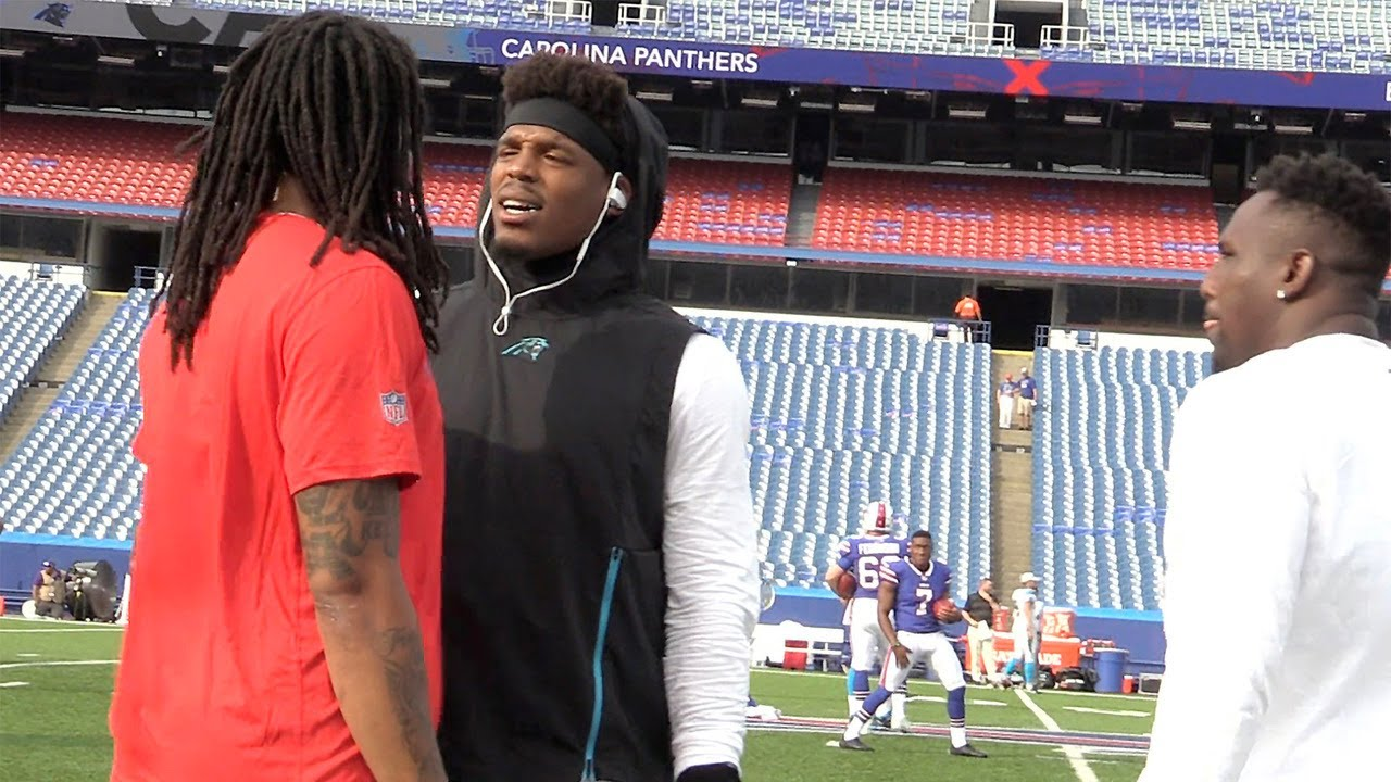 Panthers' Cam Newton shares words with Bills' Kelvin Benjamin