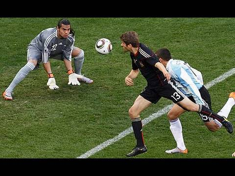 Germany beats Argentina 4-0 with Goals by Muller, Klose, and Friedrich! World Cup 2010! JRSportBrief