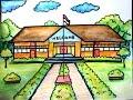 cara menggambar sekolah untuk anak-anak SD