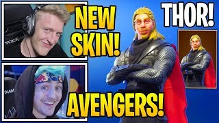 """Streamers React To *NEW* EXCLUSIVE """"THOR"""" SKIN in Fortnite! (AVENGERS)"""