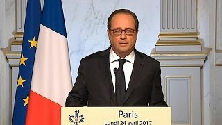 Hollande calls on voters to back Macron in run-off ballot