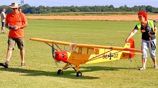 BIG RC PIPER CUB SCALE MODEL AIRPLANE FLIGHT DEMONSTRATION / Euroflugtag Rheidt 2016