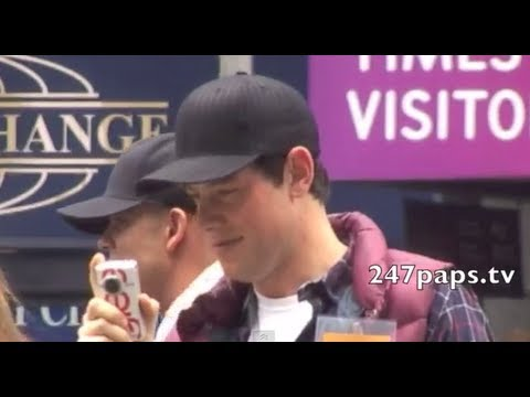 GLEE Stars CORY MONTEITH and Mark Salling walking around in TIMES SQUARE in NYC