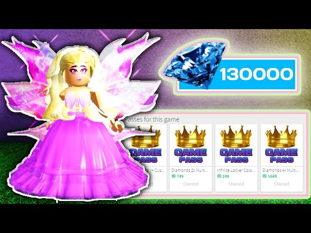 SPENDING ANOTHER 130.000 DIAMONDS  & BUYING ALL GAMEPASSES // Roblox Royale High School // Challenge