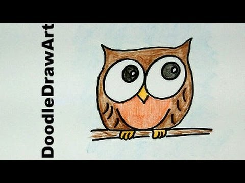 how to draw cute owl step by step